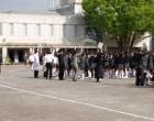 避難訓練 校庭に集合