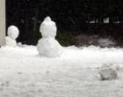 学校のあちこちに雪だるまも